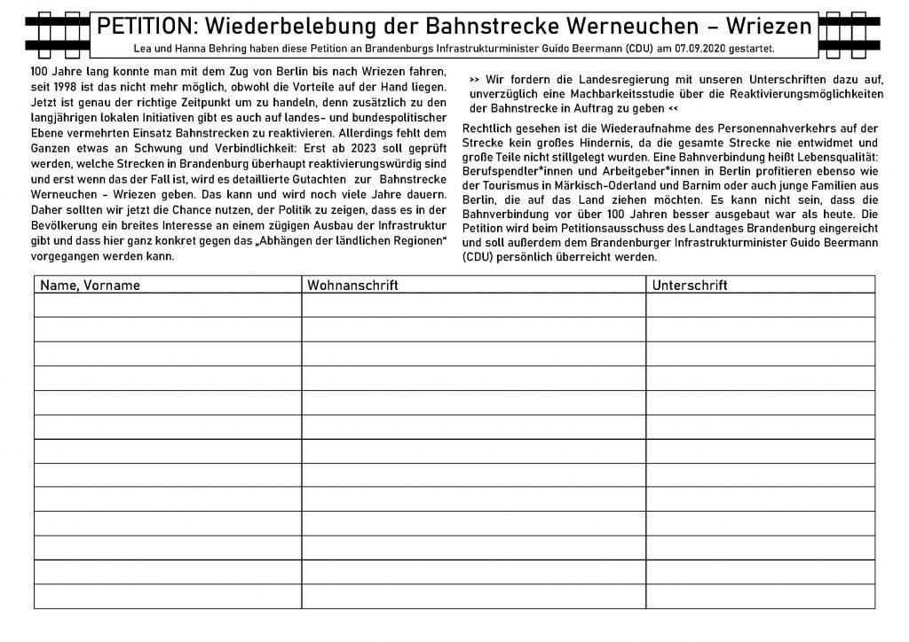 Petition zur Reaktivierung der Wriezener Bahn